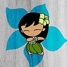 Aloha Honeys Hawaiian Hibiscus Hula Girl - Turquoise by DriveIndustries
