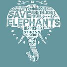Save Elephants - Word Cloud Silhouette (White) by jitterfly