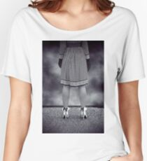 black and white Women's Relaxed Fit T-Shirt