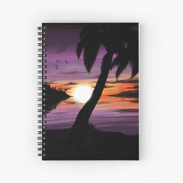 Purple Beach Sunset Spiral Notebook