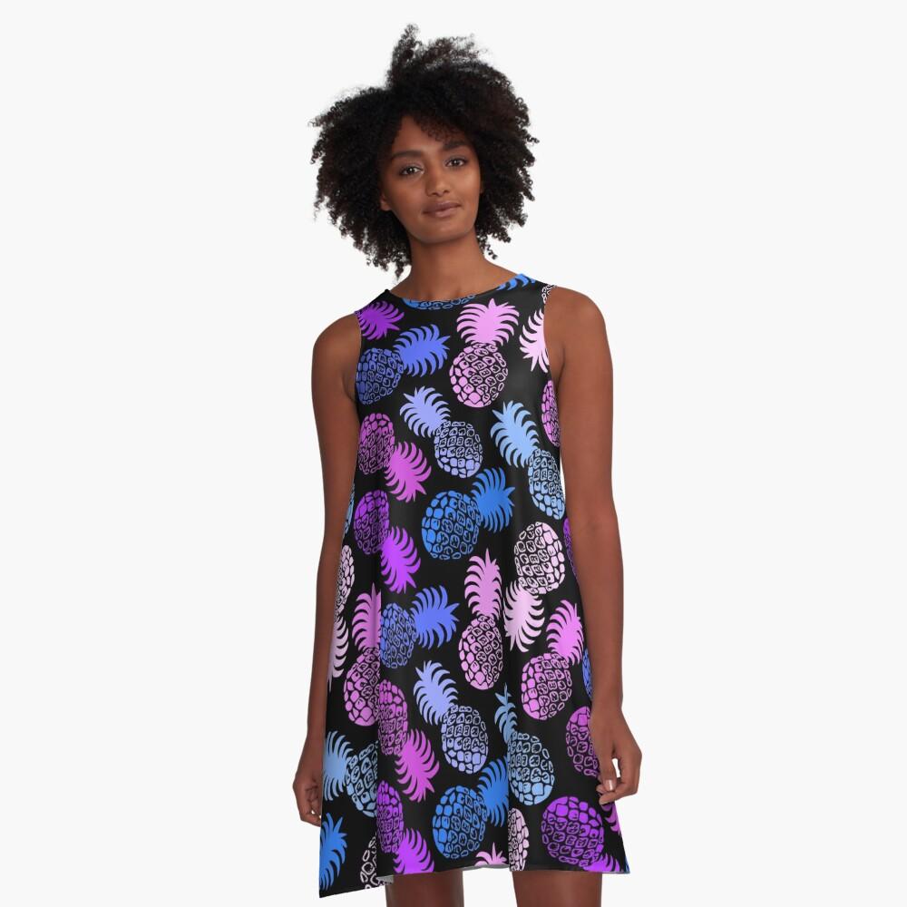 Momona Hawaiian Tropical Pineapple - Violet A-Line Dress