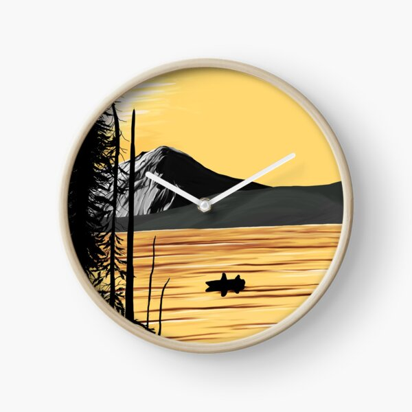Yellow and Black Sunset Clock