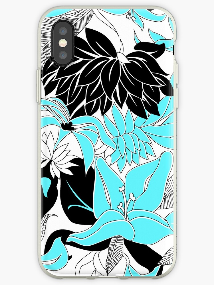 Contour Hawaii Tropical Lily and Protea Floral - Aqua & Black by DriveIndustries