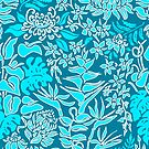 Kauai Morning Hawaiian Protea Floral - Turq and Teal by DriveIndustries