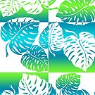 Makua Monstera Tropical Hawaiian Striped Blend - Turq by DriveIndustries
