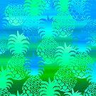 Pukana Hawaiian Pineapple Sunset Blend - Leaf green and ocean blue by DriveIndustries