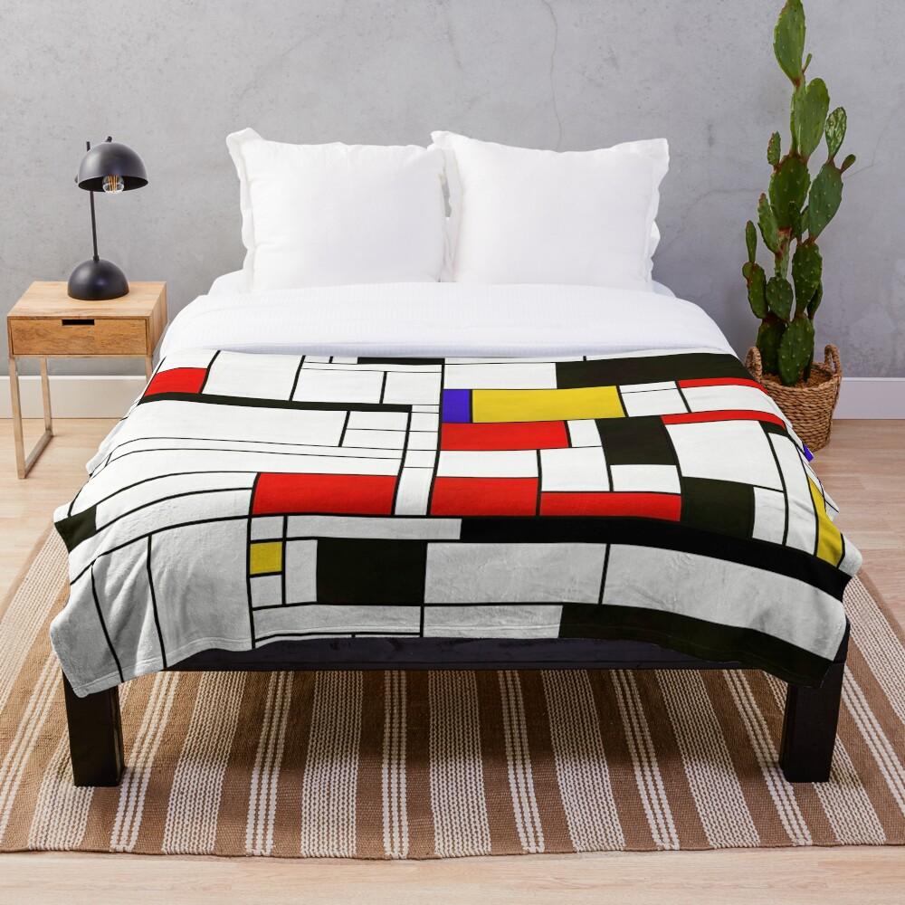 Mondrian Style Abstract Art Throw Blanket