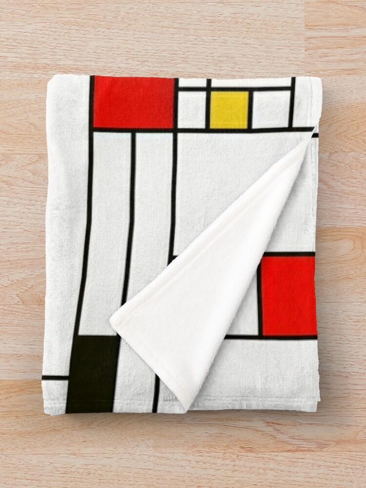 Alternate view of Mondrian Style Abstract Art Throw Blanket