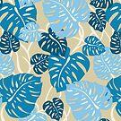 Cliff Hanger Hawaiian Monstera Leaf - Denim blues and tan by DriveIndustries