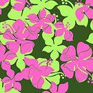 Hanalei Hawaiian Floral Camo Aloha Shirt Print - Olive, Lime & Pink by DriveIndustries