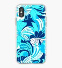 Hibiscus Jungle Hawaiian Tropical Floral - Navy, Turq & Aqua iPhone Case
