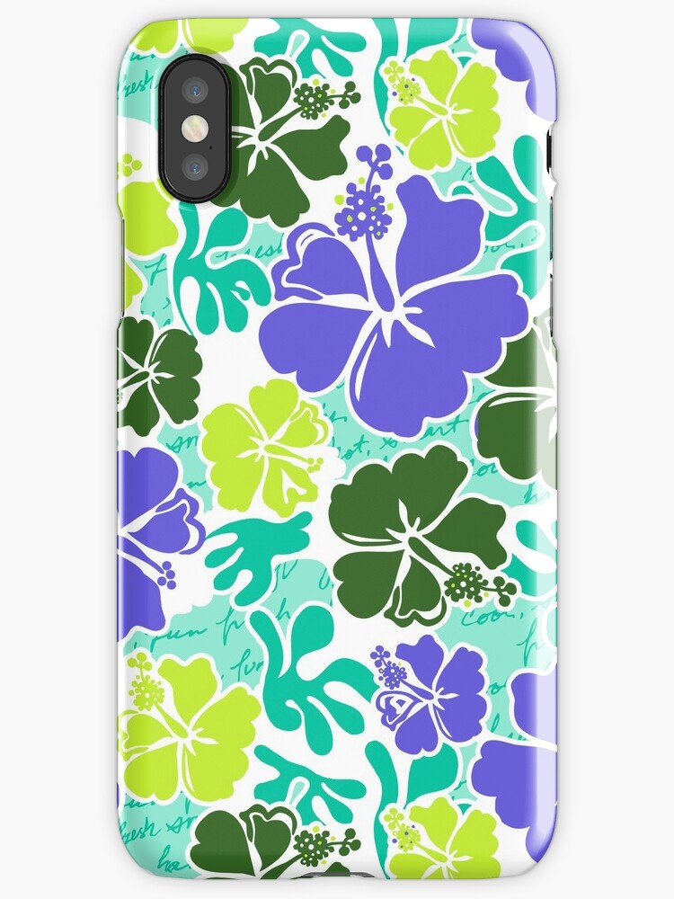 Akahai Hawaiian Hibiscus Tropical Floral - Mint & Purple by DriveIndustries