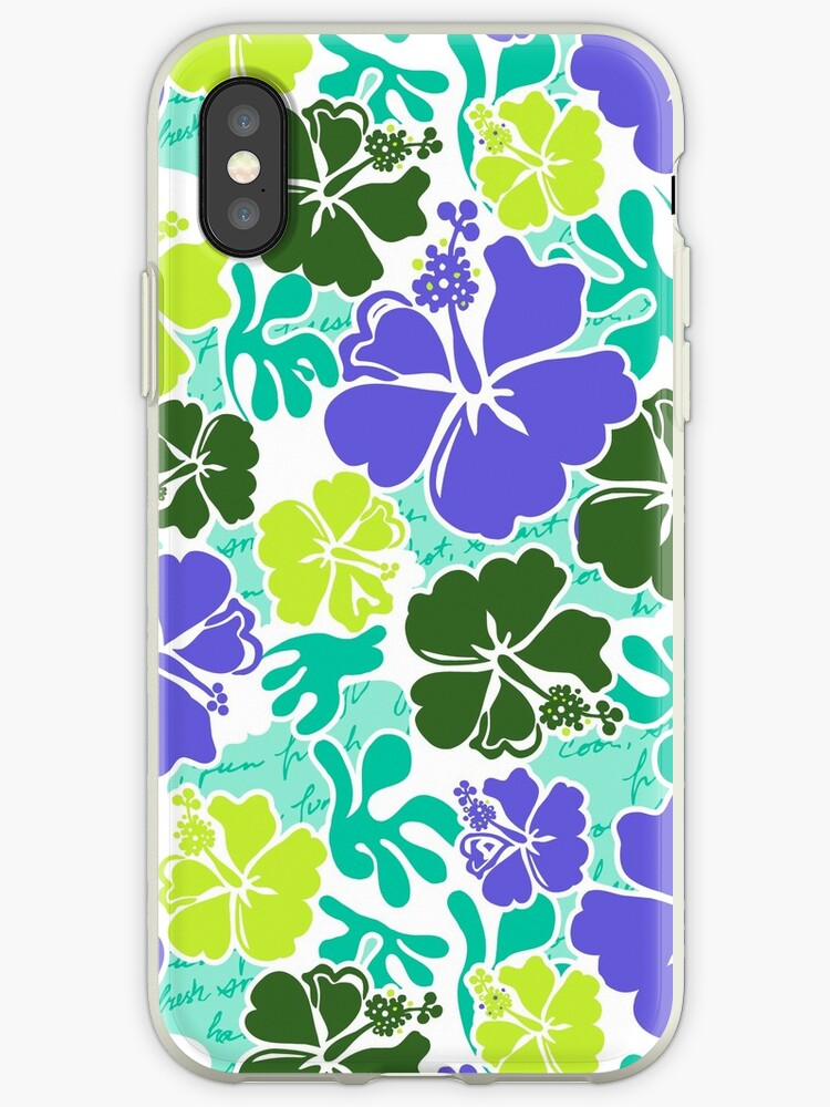 Akahai Hawaiian Hibiscus Tropical Floral - Mint & Purple by DriveIndustries