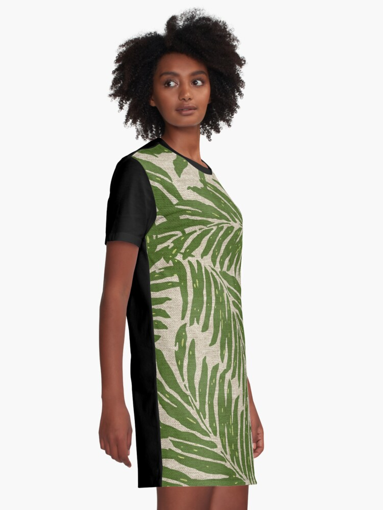 d0f1e0ced31 Alternate view of Kahanu Palms Hawaiian Linen Texture - Olive Green Graphic  T-Shirt Dress