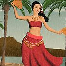 Hawaiian Vintage Hula Girl Distressed Postcard by DriveIndustries