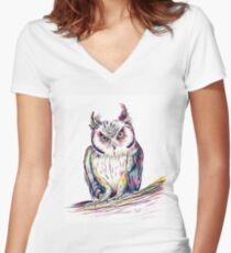 Great Horned Owl Dipped in Rainbow Women's Fitted V-Neck T-Shirt