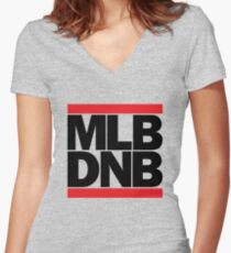 MLB DNB (Black on Light) Women's Fitted V-Neck T-Shirt