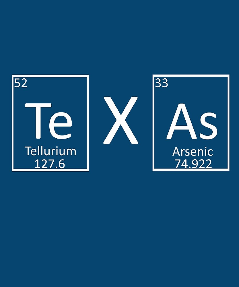 Texas Periodic Table Of Elements Chemistry Lovers By Robpauldesigns