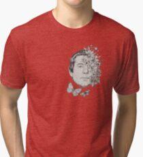 Simon Classic Folk Rock Singer Musician Face Portrait with Vintage Floral Flowers Tri-blend T-Shirt