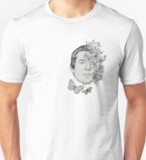 Simon Classic Folk Rock Singer Musician Face Portrait with Vintage Floral Flowers T-Shirt