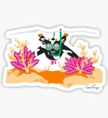 Snorkeling Cow Sticker