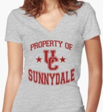 buffy - uc sunnydale Women's Fitted V-Neck T-Shirt