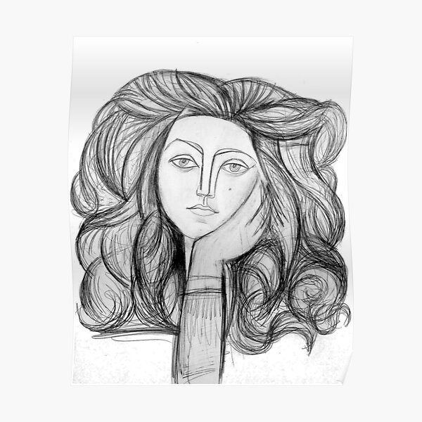 FRANCOISE 1946 : Vintage Abstract Charcoal Print Poster