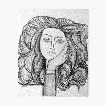 FRANCOISE 1946 : Vintage Abstract Charcoal Print Art Board Print