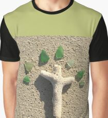Cross in the Sand with Sea Glass Graphic T-Shirt