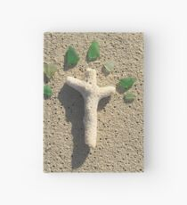 Cross in the Sand with Sea Glass Hardcover Journal