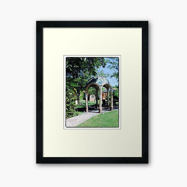 Teal Tiled Gazebo Framed Art Print