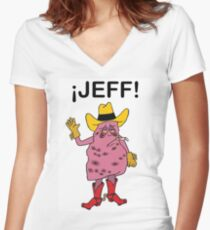 Meet Jeff the Diseased Lung! Women's Fitted V-Neck T-Shirt