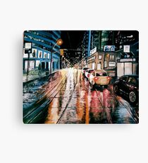 Night City Rain - 4 Canvas Print