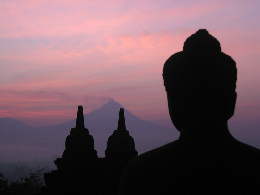 buddha at borobodur temple by Peter  Middleton
