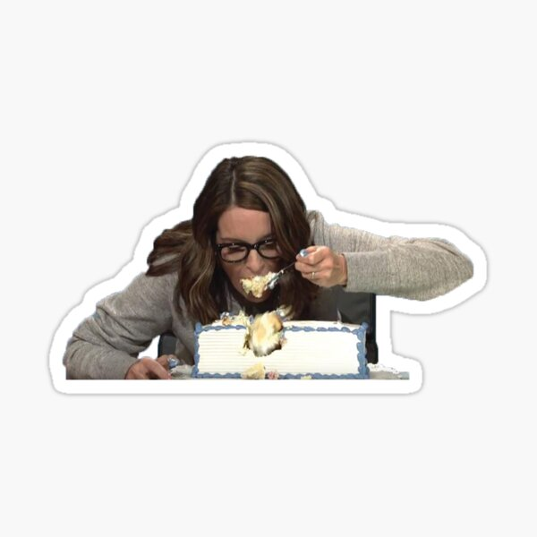 Tina Fey Eating Cake Sticker