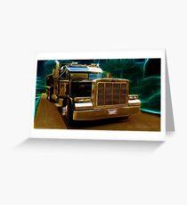 Model 359 Peterbilt Extended Hood Gold standard Greeting Card