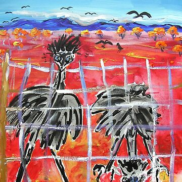 The Barrier , Outback  Emus.  by ginnymac