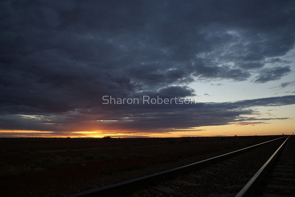Sunset over the Ghan Railway by Sharon Robertson