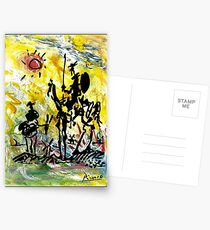 DON QUIXOTE : Vintage Abstract Painting Print Postcards