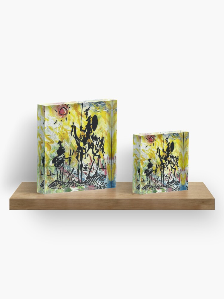 Alternate view of DON QUIXOTE : Vintage Abstract Painting Print Acrylic Block