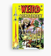 Weird Science Fiction Dinosaur, rockets, pulp fiction Canvas Print