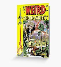 Weird Science Fiction Dinosaur, rockets, pulp fiction Greeting Card