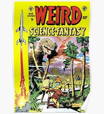Weird Science Fiction Dinosaur, rockets, pulp fiction Poster
