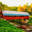 Red covered bridge by Walter Colvin