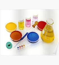 lab tools, products and chemicals on white background Poster