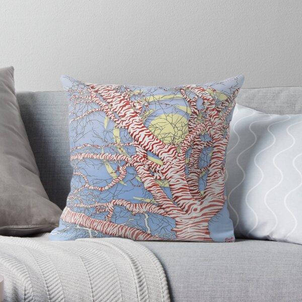 Striped Tree Digital Design Throw Pillow
