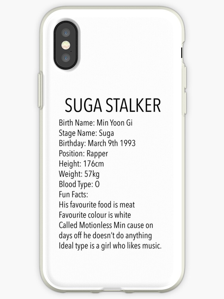 'BTS: Suga Stalker' iPhone Case by lizzyblizzardb