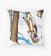 calvin and hobbes happy snow Throw Pillow