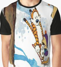 calvin and hobbes happy snow Graphic T-Shirt