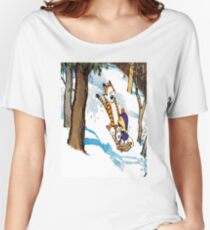 calvin and hobbes happy snow Women's Relaxed Fit T-Shirt